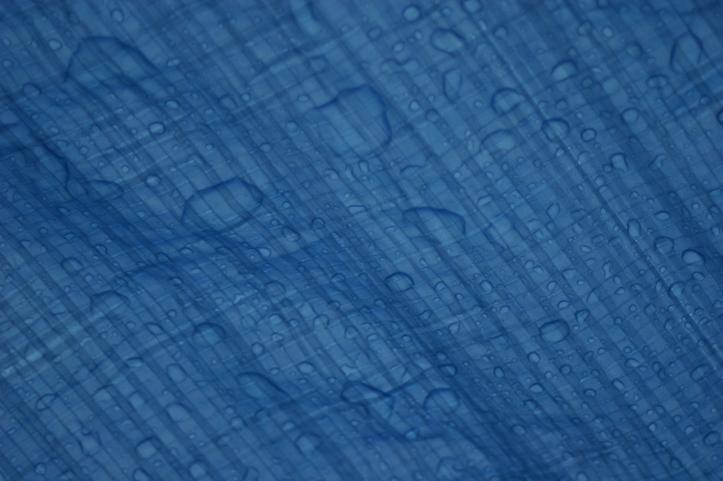 My daughter and I share ownership of a digital SLR camera. She spent some time experimenting and came up with some rather nice shots. This is the rain that collected on top our tarp shelter. I think this would make a great Windows wallpaper image.