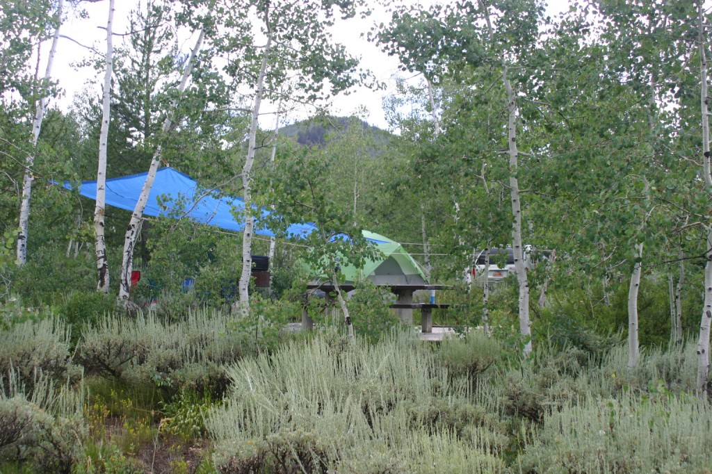 Welcome to Camp Soggy Sagebrush, our home for most of three days. We arrived just as it started to rain.