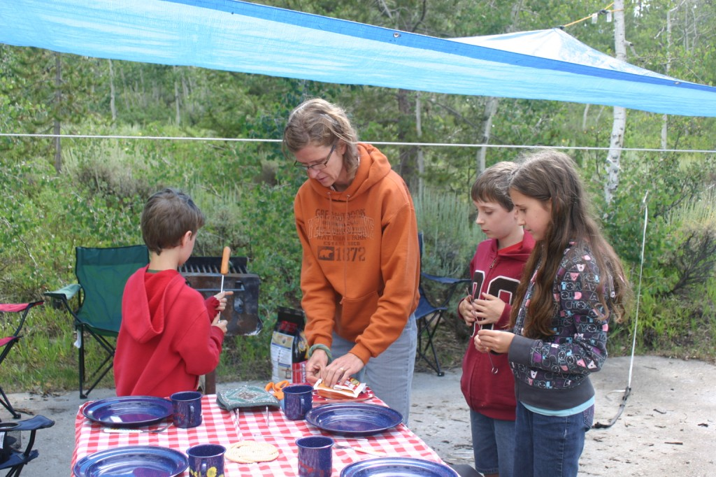 Food is an important part of camping, and we ate well. The waffle-cone parfaits, tin-foil dinners, and s'mores were especially a hit. Five thumbs up for my creative cook of a wife, as usual.
